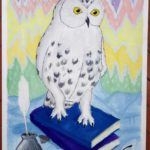 11 Ромазан Алина Андреевна - Декоративный натюрморт с совой Гуаш