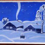 14 Ускова Анастасия Евгеньевна - Зимний деревенский пейзаж Гуашь